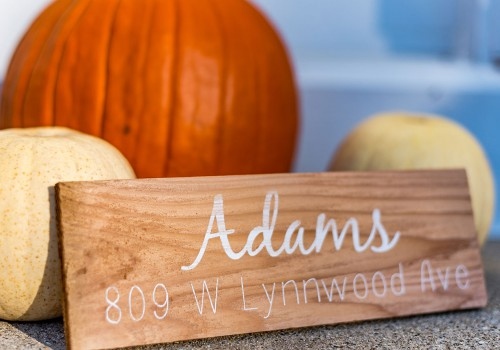 Custom plank that reads Adams